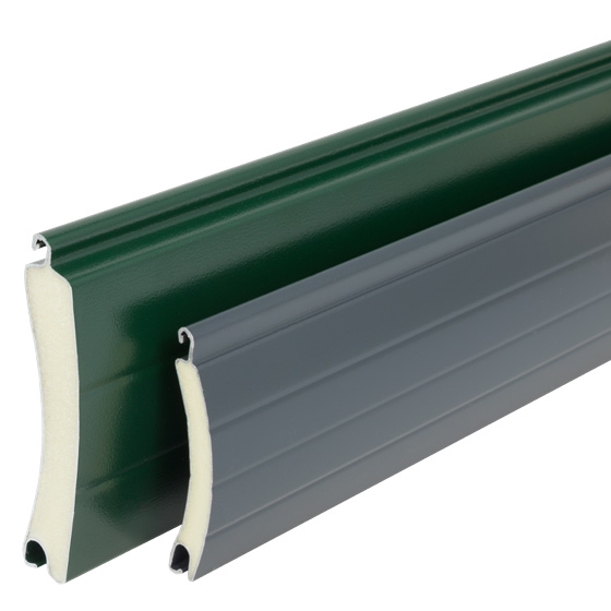 Twin walled aluminium insulated foam filled slats with ThermaRoll 77 slat and 55 slat by its side for comparison